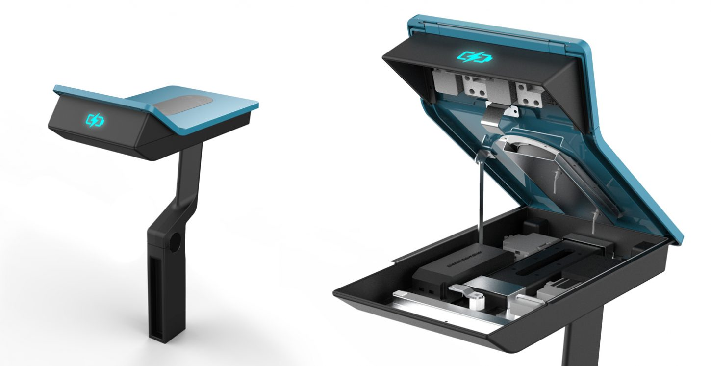 Scintilla Design's PowerMe charging table for Street Furniture Australia open for maintenance